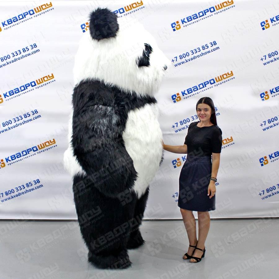 Надувной костюм белый Медведь длинный мех
