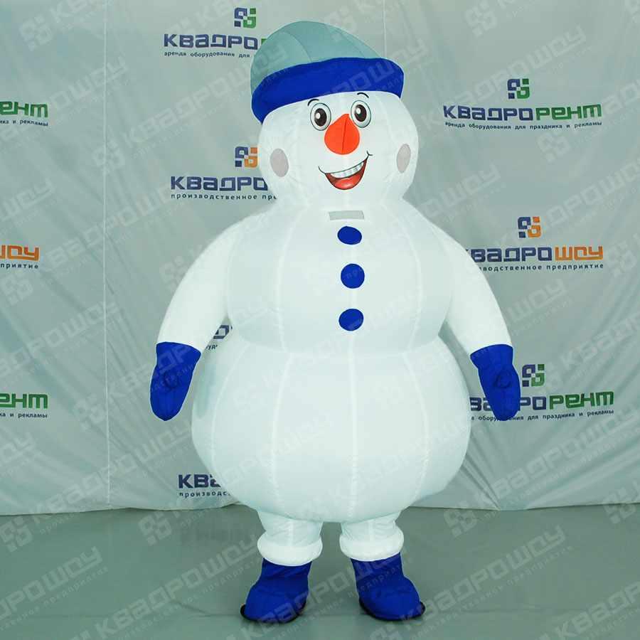 Надувной костюм Снеговик в шапке