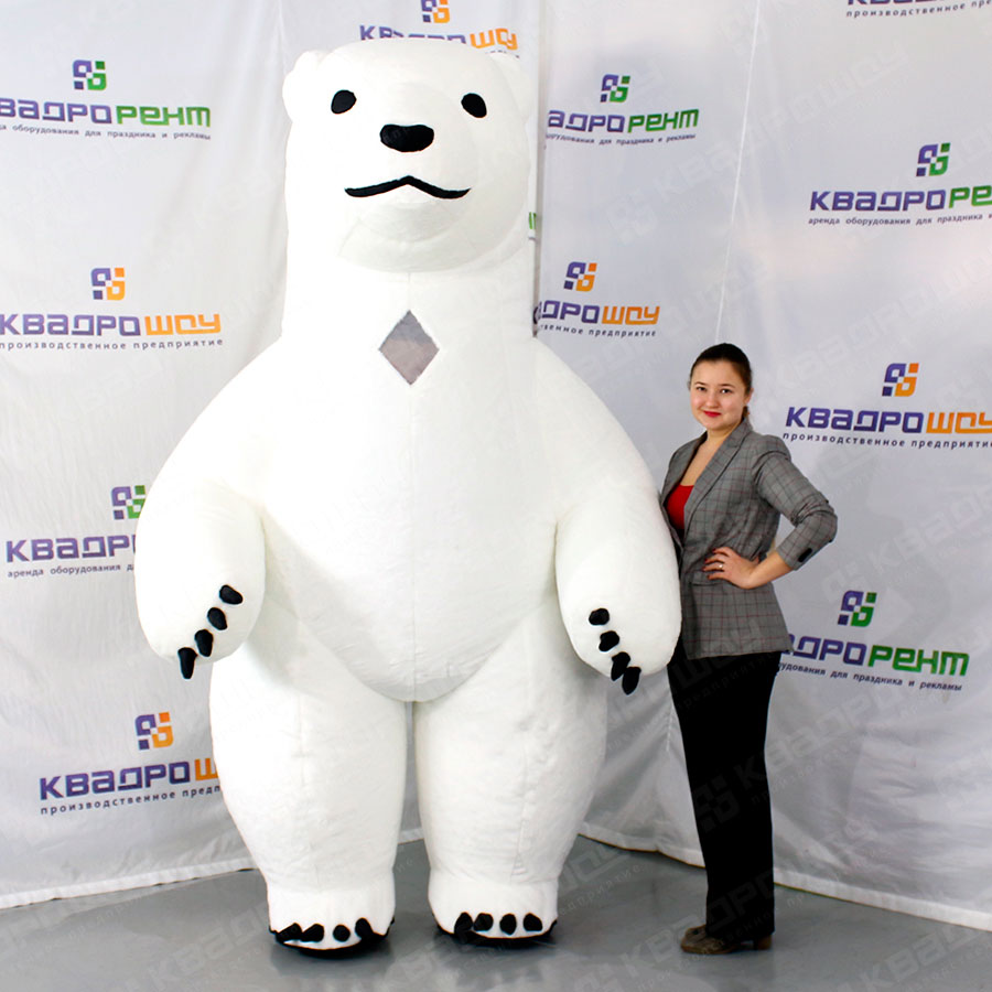 Надувной костюм белый медведь