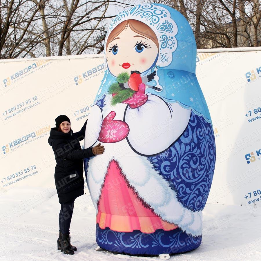 Матрёшка снегурочка в синем наряде