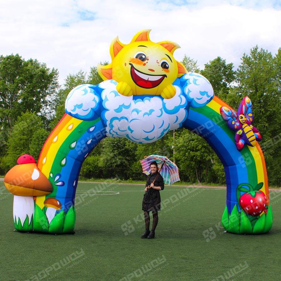 Надувная арка радуга с декором