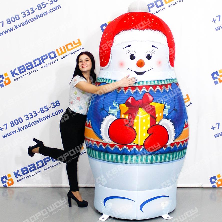 Надувной снеговик матрёшка