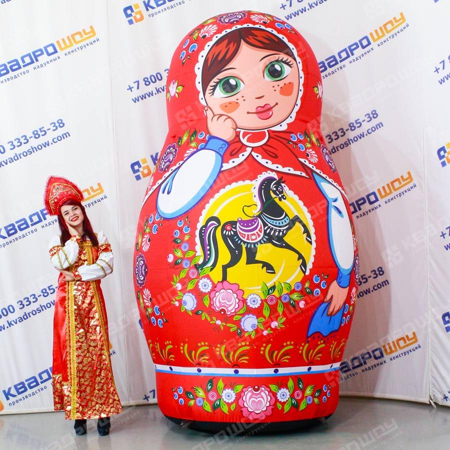 Надувная красавица Матрёшка роспись городецкая шатенка