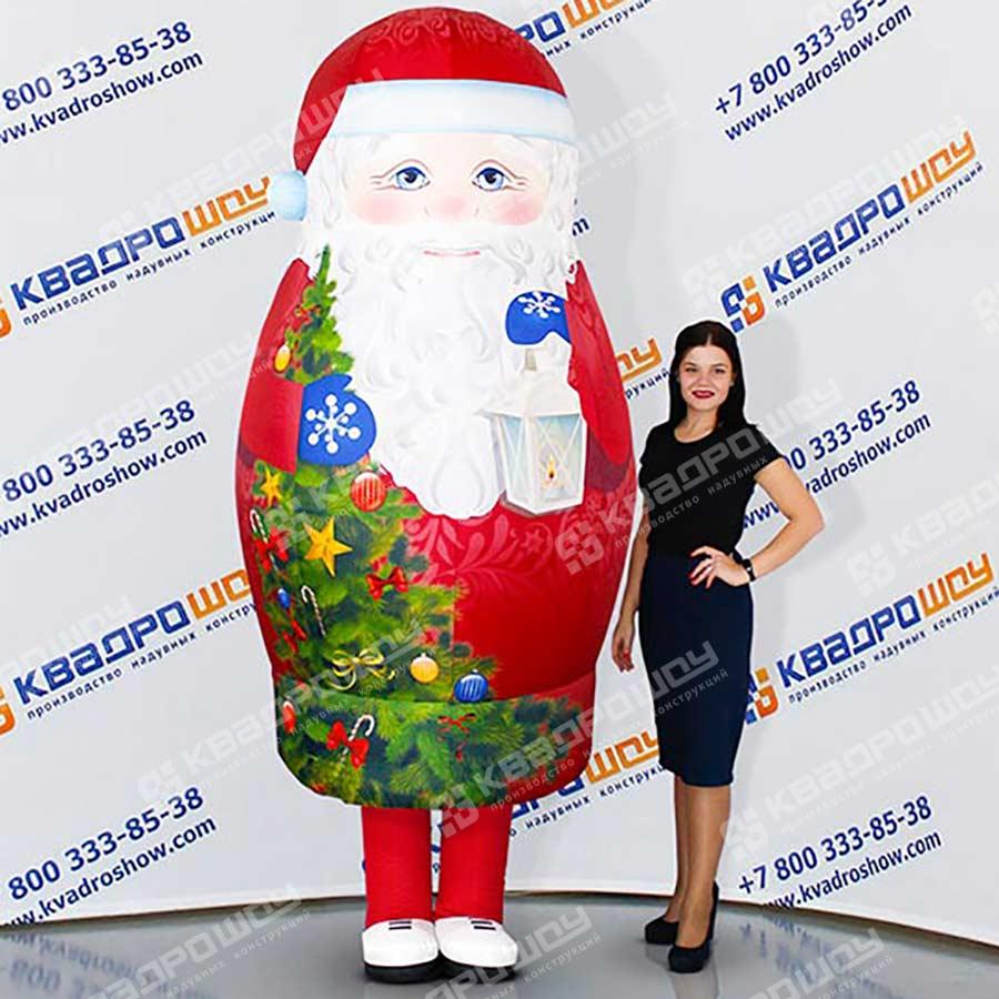 Надувной новогодний костюм  матрешка Дед Мороз