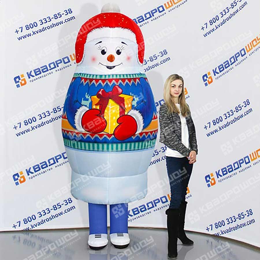 Надувной новогодний костюм матрешка Снеговик
