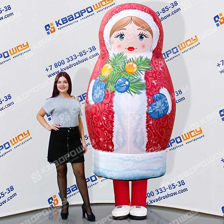 Надувной новогодний костюм матрешка Снегурочка красный