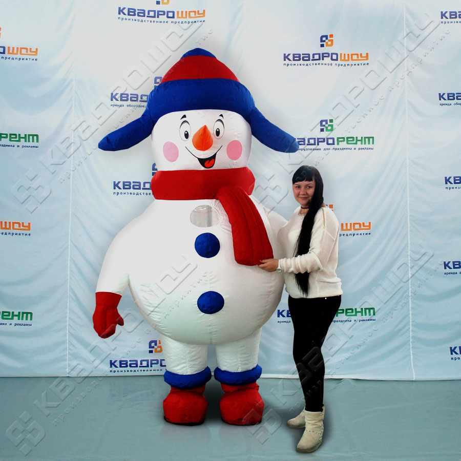 Надувной костюм Снеговик в ушанке