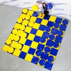 Командный аттракцион шашки синие с желтыми