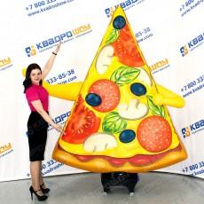 надувная фигура кусок пиццы с машущей рукой