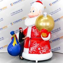 Фигура надувная Дед Мороз с золотым шаром и мешком
