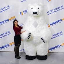 Костюм надувной белый медведь длинный ворс