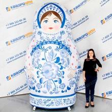 Надувная Матрешка с росписью голубая гжель