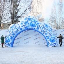 Пневмоконструкция арка гжель 8х4,5м