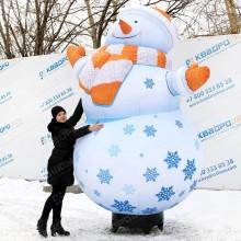 надувная фигура снеговик уличный с подсветкой