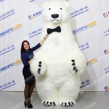 Надувной ростовой костюм белый Медведь в бабочке