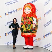 Надувной костюм Матрешка Черная Хохлома