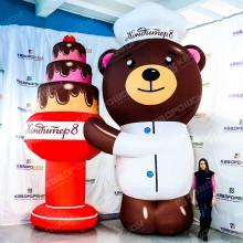 Надувной Медведь с тортиком