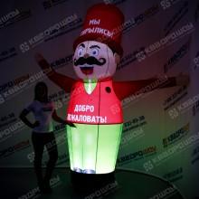 Надувной продавец в цилиндре с подсветкой