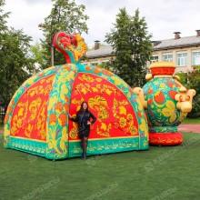 Надувные декорации Палатка и Самовар зеленая Хохлома
