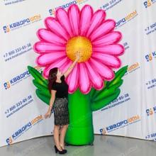 Надувной цветок Ромашка розовая принтованная