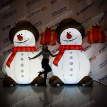 Надувная декорация Снеговик с подсветкой в шляпе