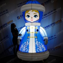 Новогодняя фигура Снегурочка с подсветкой лампочки