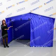 Каркасная палатка синяя с белой крышей