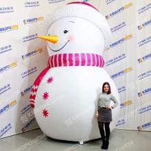Конструкция снеговик в розовой шапочке