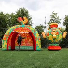 Надувной Самовар и палатка зеленая хохлома