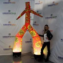 Надувной танцор Аэромен с подсветкой красная хохлома