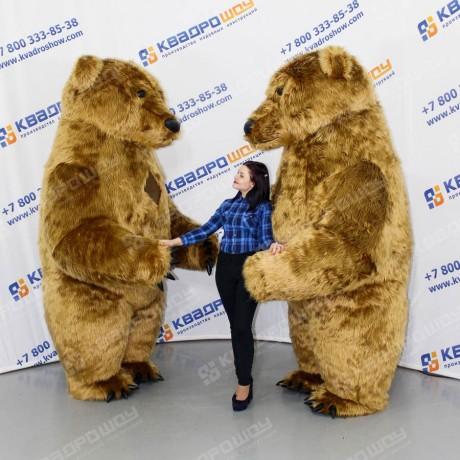 Надувной ростовой костюм Медведь с мехом