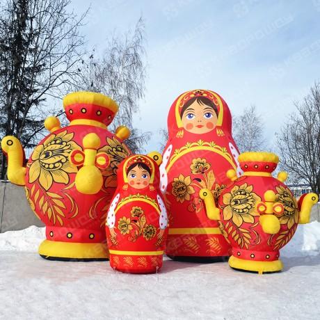 Декорации для праздника Матрешки и самовары