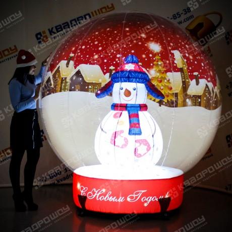 Надувная фигура шар со Снеговиком внутри