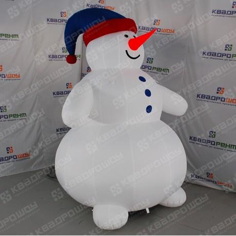 Надувной Снеговик в синей шапочке
