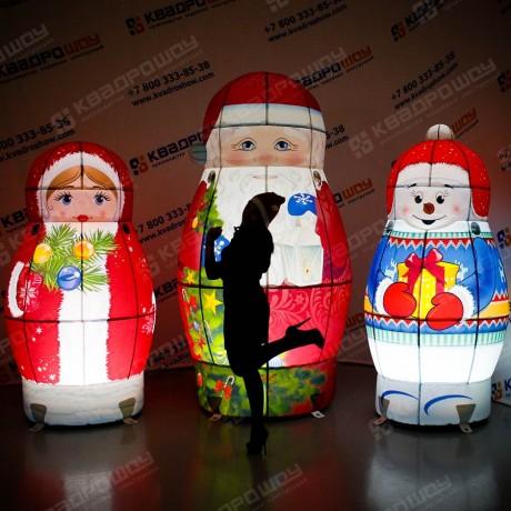 Надувные новогодние декорации Матрёшки с подсветкой
