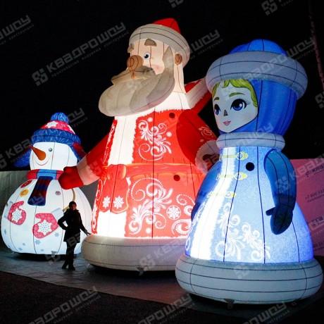 Дед Мороз, Снегурочка, Снеговик надувные фигуры с подсветкой