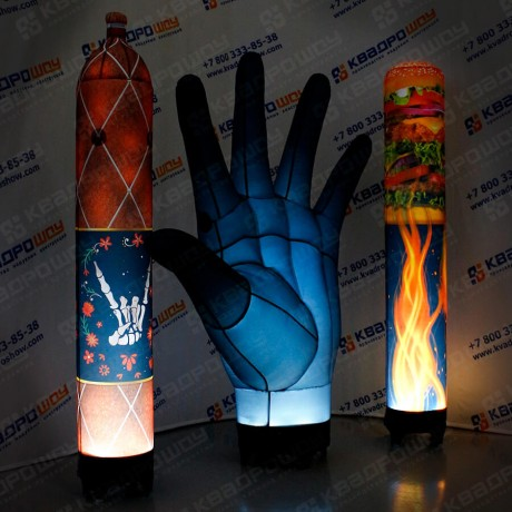 надувные рекламные фигуры рука в перчатке и колонны с подсветкой