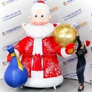Декорация надувная Дед Мороз с золотым шаром
