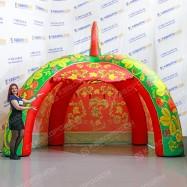 Торговая надувная палатка зеленая хохлома