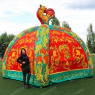 Надувная палатка зеленая Хохлома с петушком