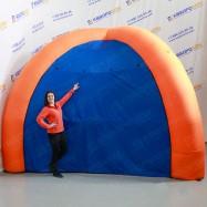 Палатка четырех опорная синяя с оранжевым