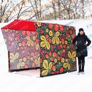 каркасная торговая палатка Чёрная хохлома на масленицу