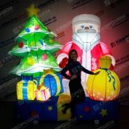 Фигура новогодняя надувная Дед Мороз с подарками