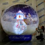 Надувная игрушка синий шар со снегом и снеговиком