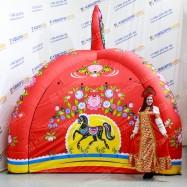 Надувная праздничная палатка с городецкой росписью