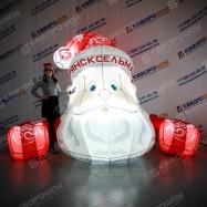Надувной Дед Мороз на фасад здания с логотипом и подсветкой