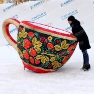 надувная игрушка большая деревянная чашка в русском народном стиле на заказ