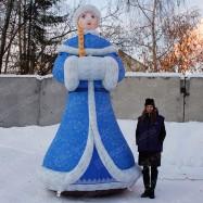 Надувная Снегурочка в голубом наряде