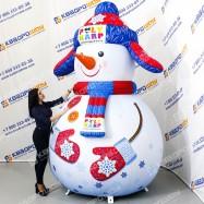 Новогодняя надувная декорация Снеговик в ушанке