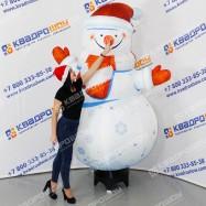 Надувной снеговик на универсальной подставке для нового года